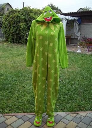 48 р флисовый толстый  комбинезон пижама кигуруми