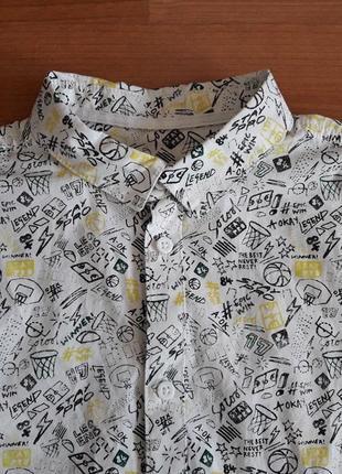 Стильная рубашка в принт marks & spencer на 13-14 лет, рост 164
