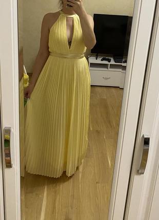 Asos длинное платье плиссированное в пол сарафан нарядное