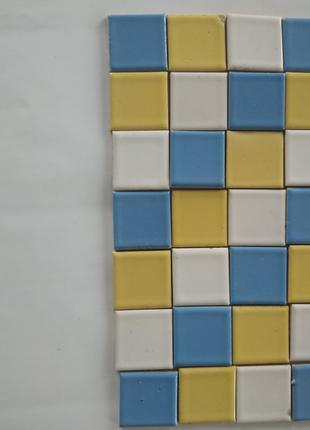 Плитка блакитно-жовта мозаїчна глазурована 2.5 см на 2.5 см