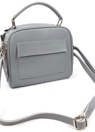 Классическая кожаная сумка серая galanty