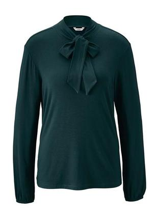 Элегантная темно-зеленая трикотажная блуза tcm tchibo