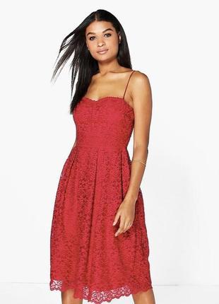 Платье миди сарафан кружево кружевное красное