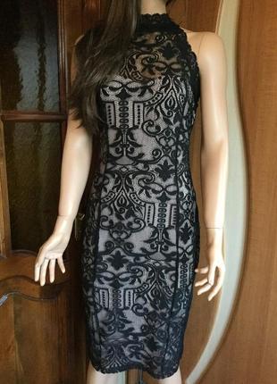 Платье миди кружевное по фигуре lipsy 10 размер