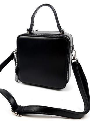 Натуральная кожаная женская сумка galanty квадратная черная