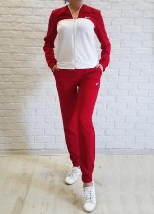 Женский спортивный костюм из дайвинга Nike красный с белым