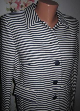 Трендовый жакет в темно-синюю и белую полоски немецкий бренд zero