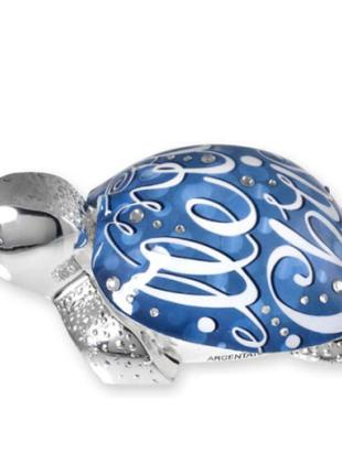 """Статуэтка """"Черепаха с панцырем """"Новогодний синий мотив"""" большая"""