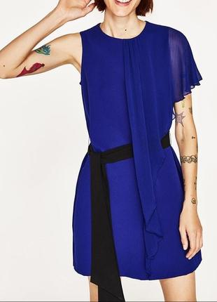 Платье индиго с воланом zara размер m