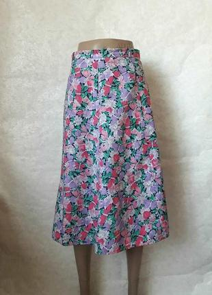 Новая нарядная юбка миди с завышенной талией в яркий цветочный...