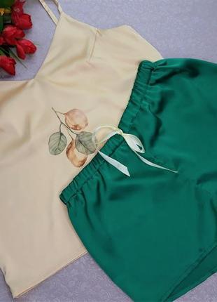 Комплект для дома и сна шортики+майка шелк с сублимацией s 42-...