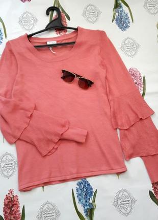 Стильный джемпер пуловер с рюшами на рукавах от vila