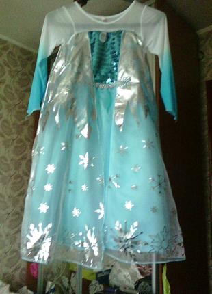 Платье костюм Эльзы корона палочка