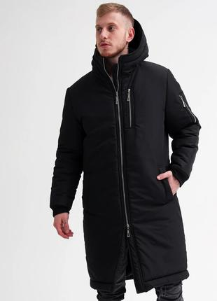 Парка мужская зимняя Snegovik до - 30*С черная теплая Куртка П...
