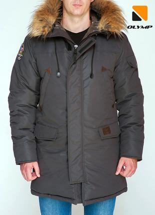 Зимняя парка мужская Аляска Bamda до -35*С коричневая | Пухови...