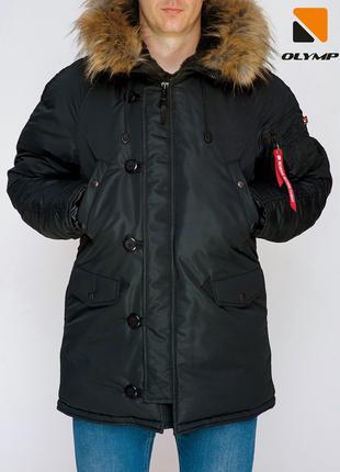 Парка мужская зимняя Аляска Old до -35*С c капюшоном черная | ...