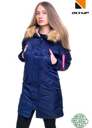 Женская зимняя парка Аляска Mate до -30*С синяя | Куртка женск...