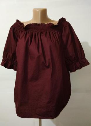 Блуза красивая винная хлопковая с открытым декольте большой ра...