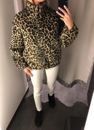 Тёплая леопардовая шуба меховая куртка. amisu. размеры уточняйте.