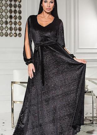 Вечернее платье макси длинное в пол велюр напыление разные цвета