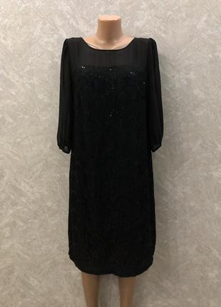 Платье вечернее  гипюровое с паетками размер 12-14