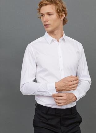 Белая рубашка стретч h&m premium quality , slim fit !