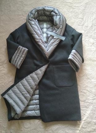 Новое пальто на пуху add пух/шерсть высокий воротник оверсайз