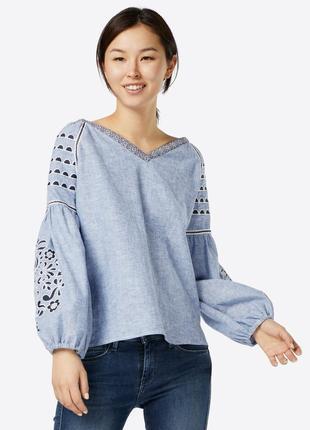 Дорогая,лен,джинсовая вышиванка,блуза,рубаха,этно,бохо стиль,r...