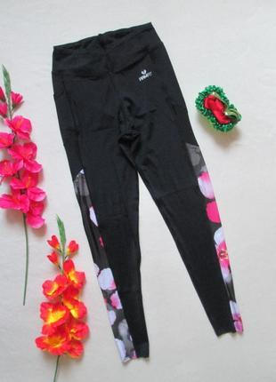 Шикарные брендовые спортивные лосины леггинсы с цветочными вст...