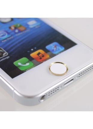 Наклейка на кнопку HOME для iPhone/iPad Белая/Золото