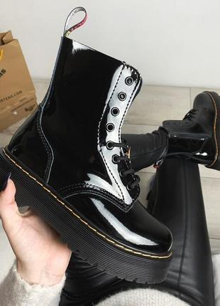Женские зимние ботинки мартинс чёрные