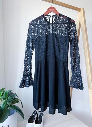 Чорна сукня з мереживом від zara