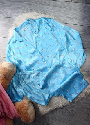 Пижама / костюм для сна / голубой атлас в мишки / штаны и руба...