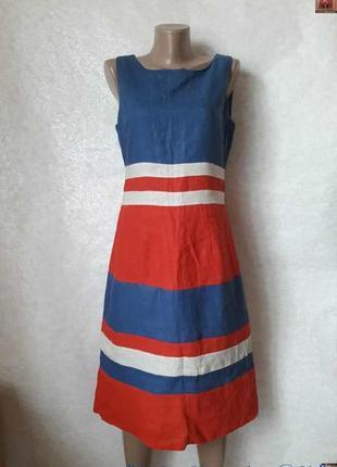 Фирменное новое платье со 100 % льна в оригинальные крупные по...