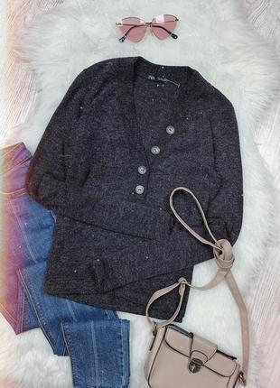 🌿 темно серый джемпер zara на пуговицах   свитер   кофта