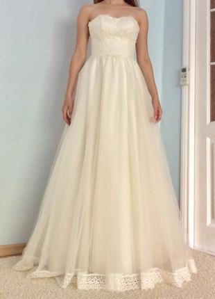 Свадебное платье цвет айвори xs
