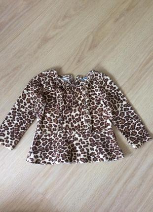 Теплая кофта леопард 18-24 мес