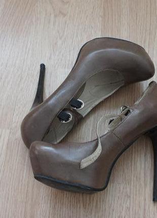 Туфли из натуральной кожи цвет хаки