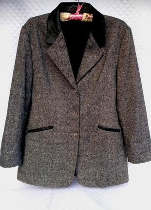 Стильный пиджак с кожаными вставками размер 16 (46-48)