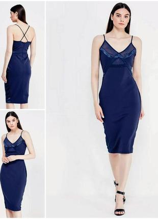 Трендовое синее платье миди со вставками по бокам