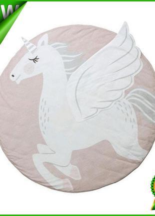 Одеяло коврик в детскую комнату Единорог, круглый хлопковый ко...