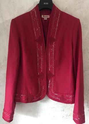 Роскошный, нарядный пиджак, жакет, вышивка, бисер, пайетки, шё...