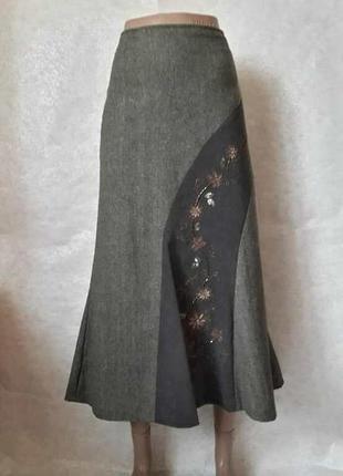 Фирменная ewm шерстянная длинная юбка в пол в зелёном цвете с ...