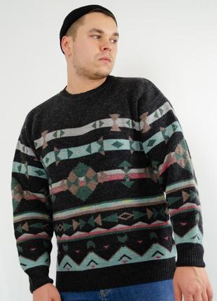 Винтажный шерстяной свитер, джемпер, праздничная кофта с шерст...