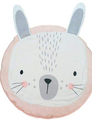 Одеяло коврик в детскую комнату Розовый Зайка, круглый хлопков...