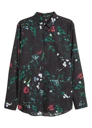 Чёрная рубашка h&m из смесового лиоцелла !