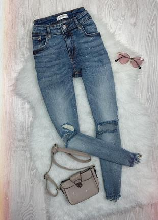 🌿 синие джинсы скинни zara с необработанным низом