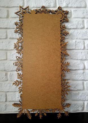 Картина из мдф, рамка новогодняя, снежинки