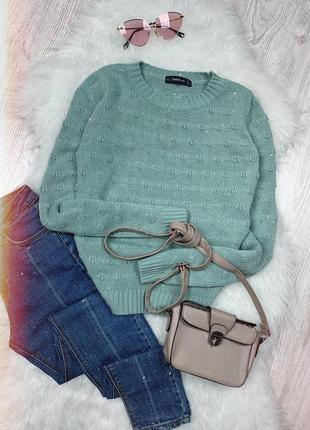 🌿 вязаный свитер zara   джемпер