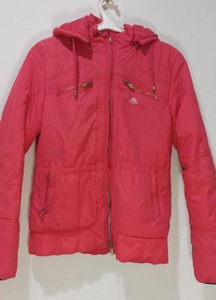 Легкая куртка женская фирменная адидас adidas с капюшоном пог ...
